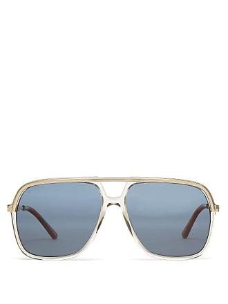 58af1db588645 Gucci Lunettes de soleil rectangulaires en métal et acétate