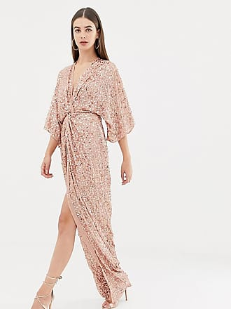 Asos Tall ASOS DESIGN Tall scatter sequin knot front kimono maxi dress - Multi