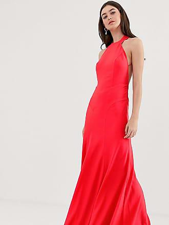 bf5db920a087 Asos Tall - Vestito lungo accollato in crêpe con fondo a coda di rondine -  Rosso