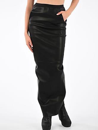 Rick Owens Leather Cotton Stretch SOFT PILLAR Skirt size 38