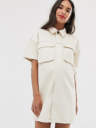 Asos Maternity ASOS DESIGN Maternity denim boxy shirt dress in ecru-White