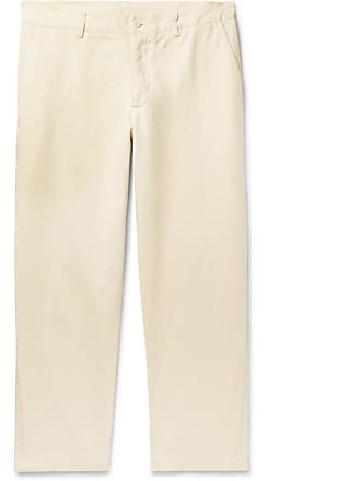 Ymc You Must Create Slim-fit Cotton And Linen-blend Trousers - Ecru