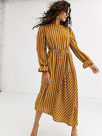 Unique21 Unique21 stripe long sleeve drawstring waist dress-Multi