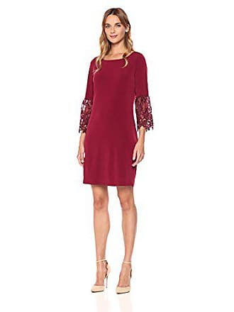 Ivanka Trump Womens Matte Jersey Lace Bell Sleeve Dress, Bordeaux, XL