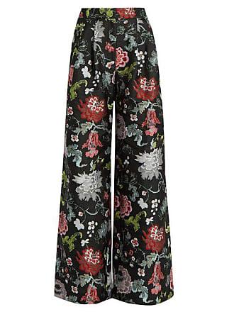 Adam Lippes Floral Jacquard Wide Leg Trousers - Womens - Black Multi 4cd63fb10c