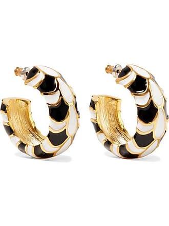 Kenneth Jay Lane Gold-plated And Enamel Earrings - Black
