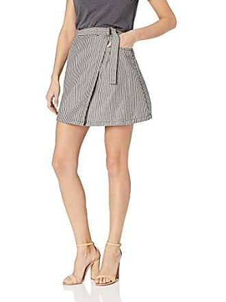 d576e843f The Fifth Label Womens Greenwood Stripe WRAP Front Short Mini Skirt, sage  Ivory, S