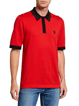 Burberry Mens Camford Polo Shirt, Bright Red