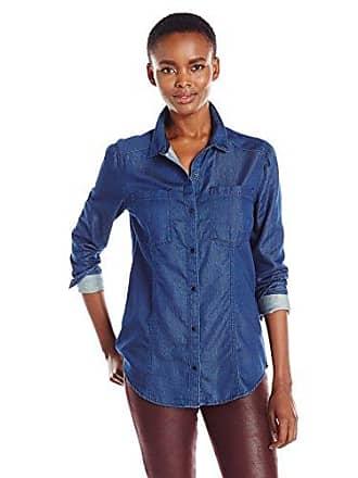 Calvin Klein Jeans Womens Long Sleeve Denim Button Down Shirt, Mid Blue, Small