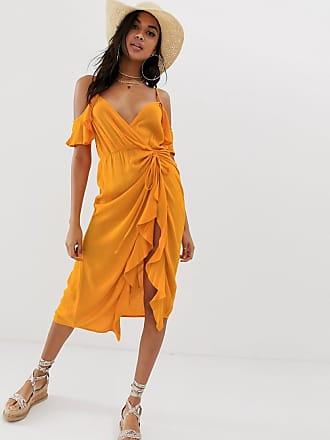 ffe9eb09736 Asos Robe de plage longue froissée à épaules nues et taille froncée - Orange