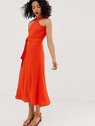 72e4cf51224 Vero Moda Robe longue à taille nouée et encolure haute - Orange