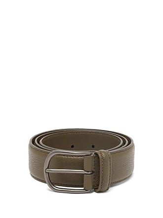 Anderson's Pebbled Leather Belt - Mens - Dark Green