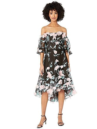b2e25a9f Marchesa Off the Shoulder 3D Floral Embroidered Cocktail with Blouson  Sleeve and Trims (Black)