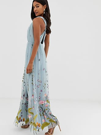 15c52e38206a81 Asos tulle maxi dress with delicate floral embroidery and twist straps -  Blue