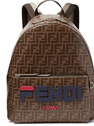 c9f9f333281 Fendi Logo-appliquéd Leather-trimmed Printed Coated-canvas Backpack - Brown