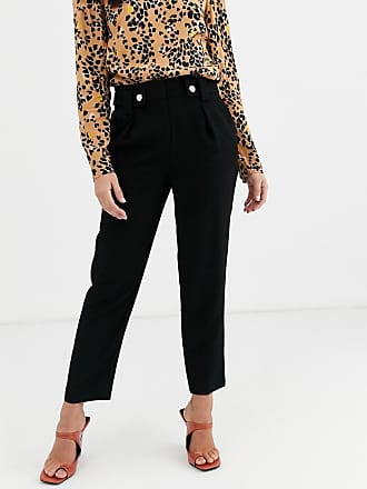 Warehouse tapered trousers with belt in black