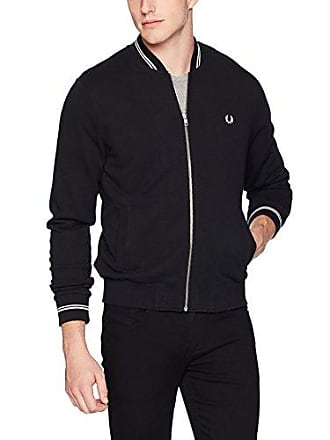 Fred Perry Mens Bomber Neck Sweater, Black, X-Small