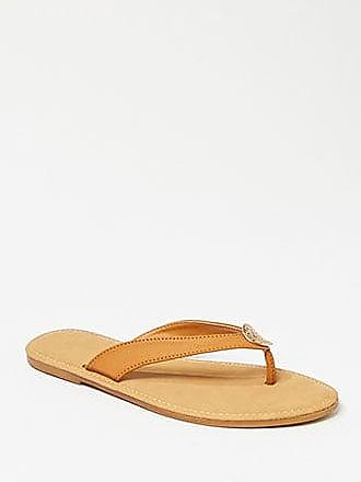 Forever 21 Forever 21 Faux Leather Thong Sandals Tan