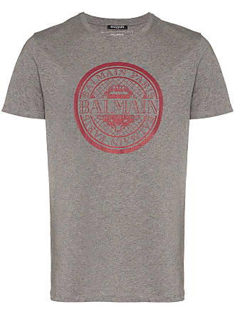 ff6a4d37970 Balmain grey and red logo print cotton t shirt