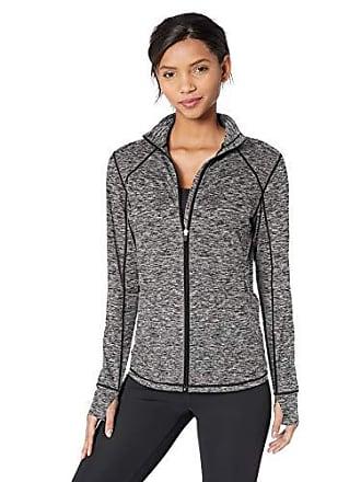 Amazon Essentials Womens Brushed Tech Stretch Full-Zip Jacket, Dark Grey Space dye, Medium