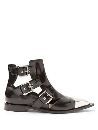 7dc2b4ad0f Alexander McQueen Alexander Mcqueen - Cut Out Leather Ankle Boots - Womens  - Black