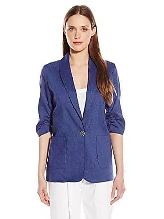 Karen Kane Womens Ruched Sleeve Jacket, Blue, Large