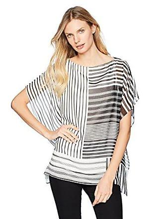 Calvin Klein Womens Printed Kaftan, Black/White Multi Stripe, M