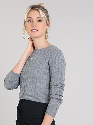 Basics Suéter Feminino Básico em Tricô Decote Redondo Cinza Mescla