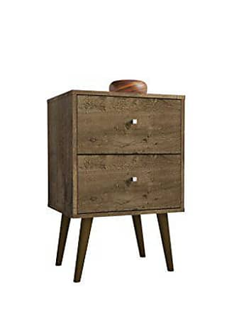 Manhattan Comfort 204AMC9 Liberty Modern 2 Drawer Bedroom Nightstand/End Table, Rustic Brown