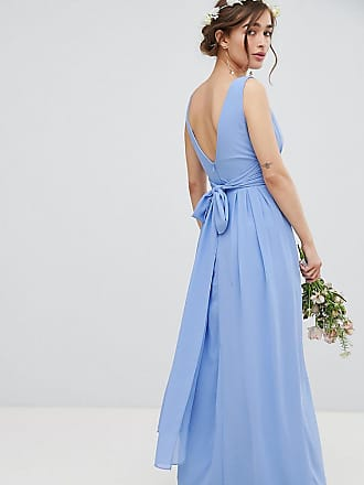 Tfnc Petite Wrap Front Maxi Bridesmaid Dress With Tie Back - Blue