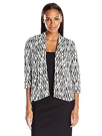 Kasper Womens Knit Jacquard Flyaway Jacket, Black/White, 6