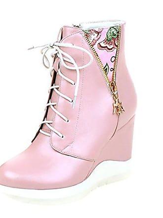 3f777c5dc3c17b UH Damen Keilabsatz Stiefeletten Schnüren Plateau Ankle Boots mit Fell und  Blumenmuster Reißverschluss Warm Schuhe