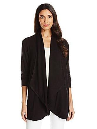 Ruby Rd. Womens Solid Knit Cardigan with Cascade Collar, Black, XL