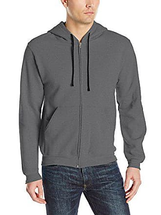 Fruit Of The Loom Mens Full-Zip Hooded Sweatshirt, Charcoal Heather, X-Large