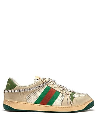 a7f762bb6 Gucci Screener Crystal Embellished Leather Trainers - Mens - White Multi
