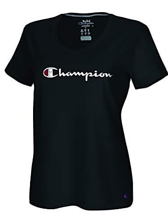 Champion Womens Plus Size Double Dry Cotton V-Neck Tee, Black, 1X
