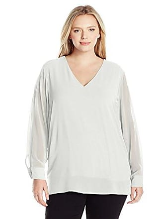 05e614745c8060 Calvin Klein Womens Plus Size Hi-Low V-Neck Blouse, Soft White,