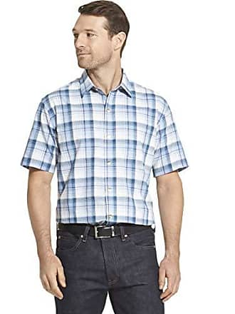 Van Heusen Mens Air Short Sleeve Button Down Plaid Shirt, Blue Colony, X-Large