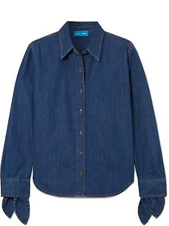 Mih Jeans Larsen Tie-detailed Denim Shirt - Dark denim