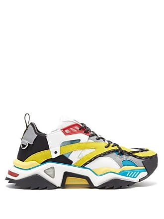 CALVIN KLEIN 205W39NYC Calvin Klein 205w39nyc - Strike 205 Leather And Mesh Trainers - Mens - Multi