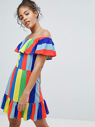 92a7dd519ffdc Asos Tall ASOS DESIGN Tall off shoulder sundress with tiered skirt in  rainbow stripe - Multi