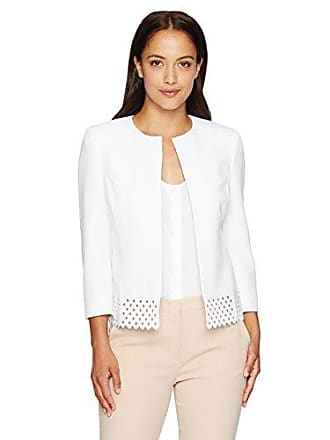 Kasper Womens Petite Size Jewel Neck Flyaway with an Open Work Hem, New Lily White, 8P