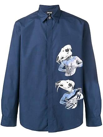 Just Cavalli Camisa mangas longas com estampa gráfica - Azul