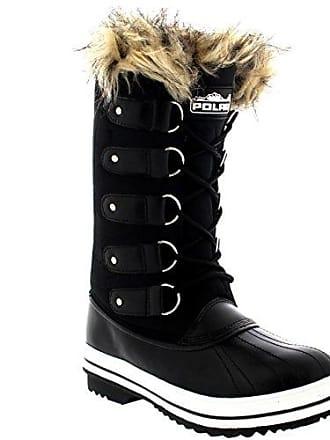 04b4d657dc1d69 Polar Damen Pelz Cuff Schnüren Gummisohle Tall Winter Schnee Regen Schuh  Stiefel - Schwarz Nylon -