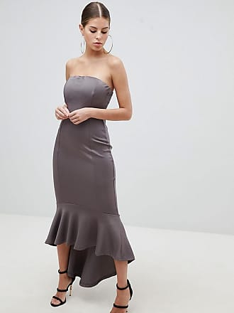 AX PARIS Bandeau Midiaxi Dress With Peplum Hem - Gray