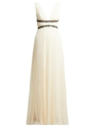 Maria Lucia Hohan Penelope Crystal Embellished Pleated Tulle Dress - Womens - White Multi