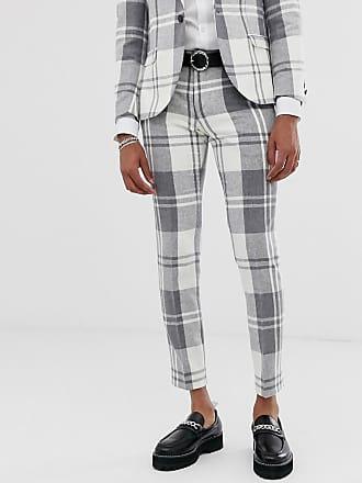 Twisted Tailor Pantaloni super skinny a quadri grigi-Grigio