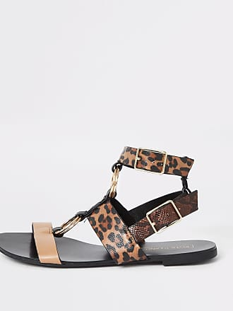 89be18199633 River Island Womens Brown animal print gladiator sandals