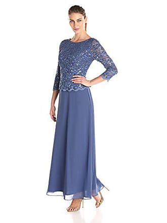 Alex Evenings Womens Standard Long Mock Dress with Full Skirt (Petite and Regular Sizes), Wedgewood, 10