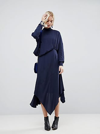 Asos Tuck Detail Midi Dress - Blue